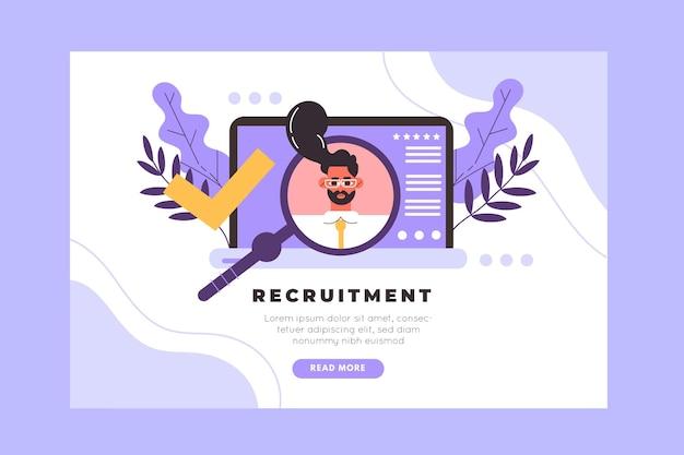 Modelo de página de destino do conceito de recrutamento