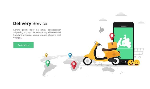 Modelo de página de destino do conceito de serviços de entrega rápida online