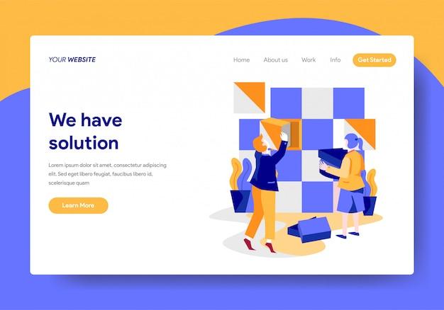Modelo de página de destino do conceito de solução de negócios