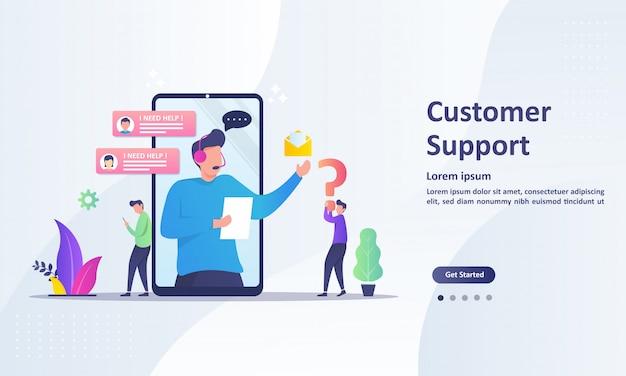 Modelo de página de destino do conceito de suporte ao cliente