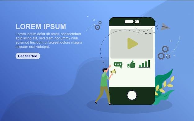 Modelo de página de destino do conteúdo. conceito de design plano de design de página da web para o site.