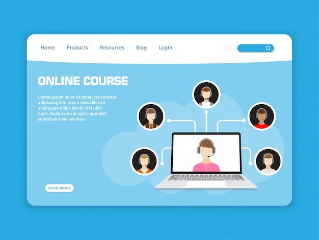 Modelo de página de destino do curso on-line