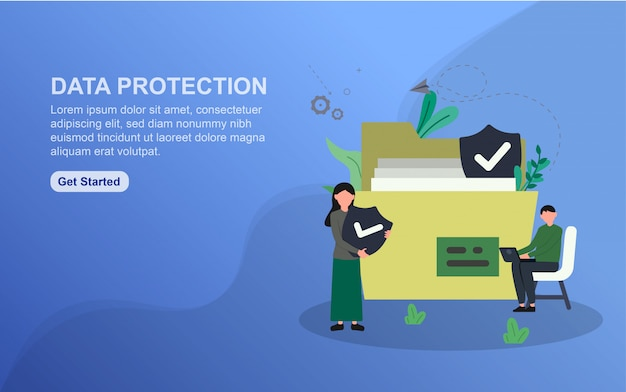 Modelo de página de destino do data protection