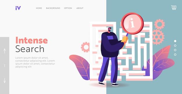 Modelo de página de destino do desafio. empresário no labirinto ou labirinto com lupa. solução de localização de personagem, estratégia de negócios, oportunidade. idéia de pesquisa de homem, percepção. ilustração em vetor de desenho animado