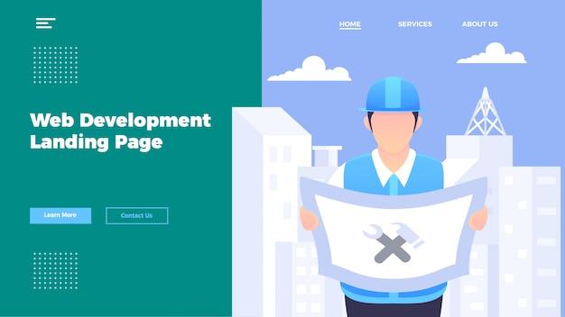 Modelo de página de destino do desenvolvedor da web.