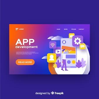 Modelo de página de destino do desenvolvimento de aplicativos
