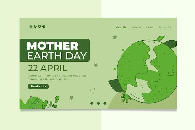 Modelo de página de destino do dia da mãe terra