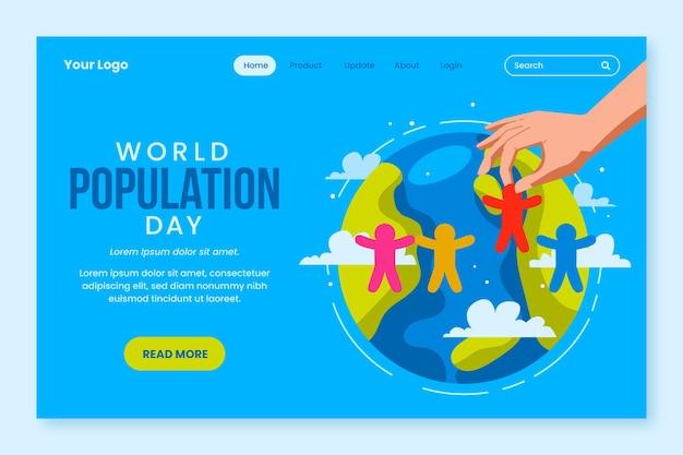 Modelo de página de destino do dia da população mundial