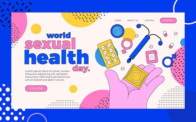 Modelo de página de destino do dia de saúde sexual de mundo plano