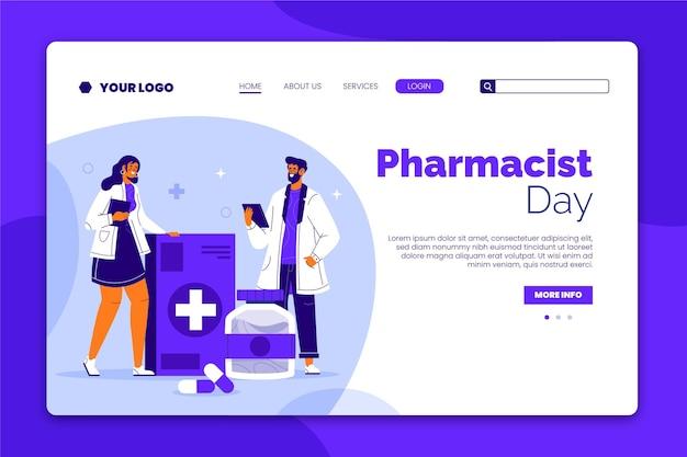 Modelo de página de destino do dia do farmacêutico