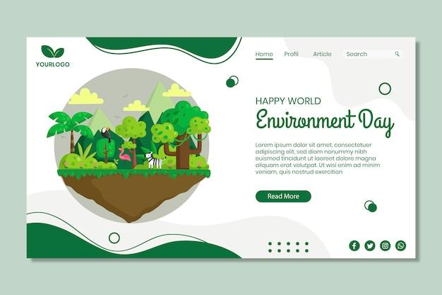 Modelo de página de destino do dia do meio ambiente