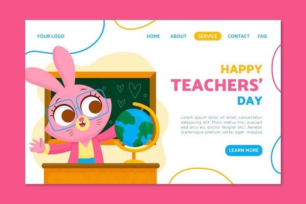 Modelo de página de destino do dia do professor desenhado à mão