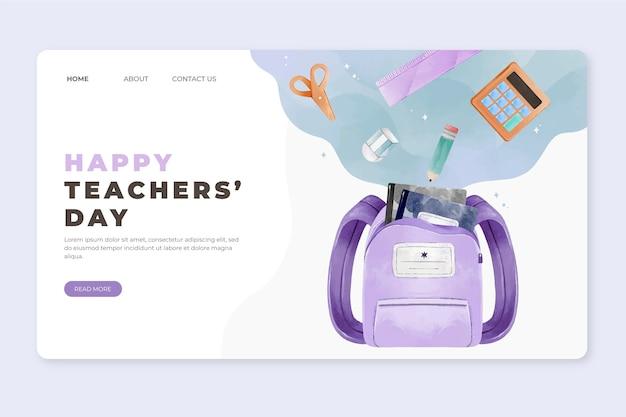 Modelo de página de destino do dia dos professores em aquarela