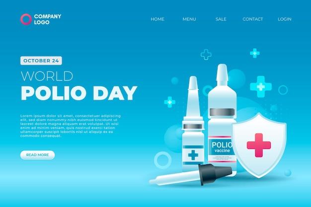 Modelo de página de destino do dia mundial da pólio em gradiente