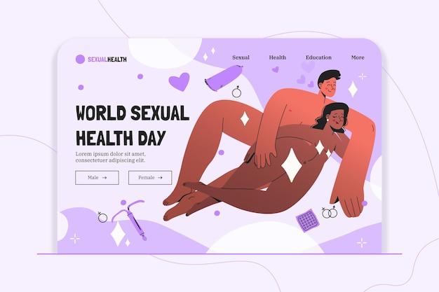 Modelo de página de destino do dia mundial da saúde sexual desenhado à mão