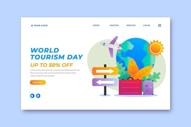 Modelo de página de destino do dia mundial de turismo gradiente