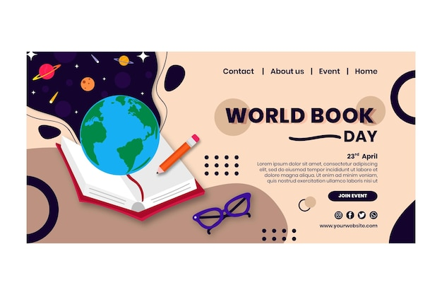 Modelo de página de destino do dia mundial do livro