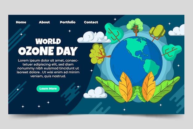 Modelo de página de destino do dia mundial do ozônio desenhado à mão