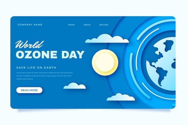 Modelo de página de destino do dia mundial do ozônio em estilo papel