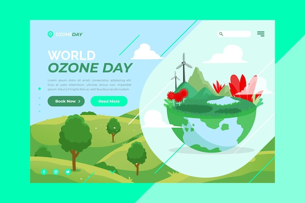 Modelo de página de destino do dia mundial do ozônio plano