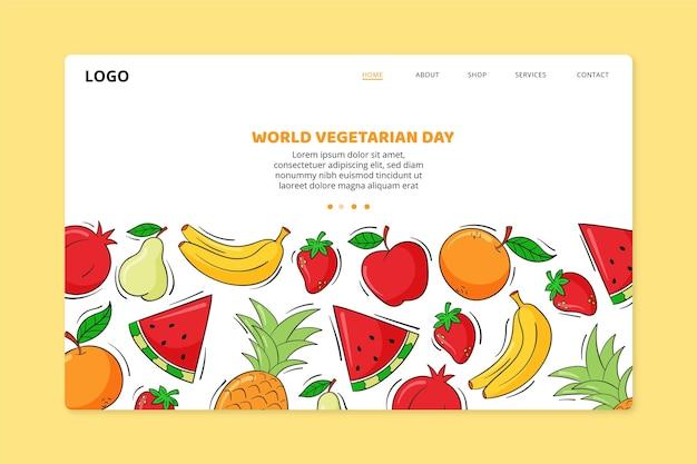 Modelo de página de destino do dia mundial vegetariano desenhado à mão