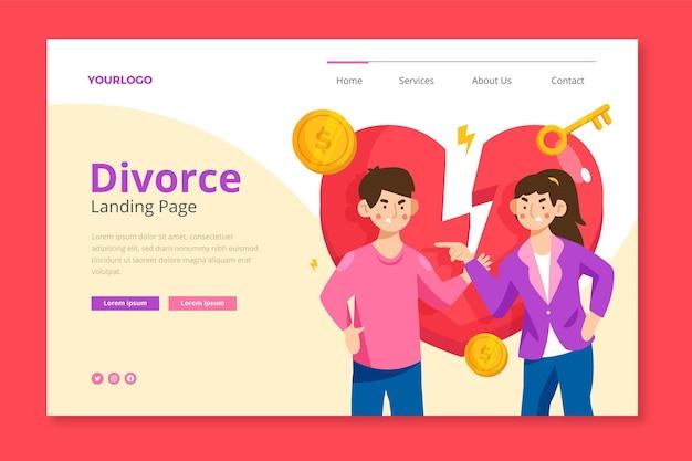 Modelo de página de destino do divórcio