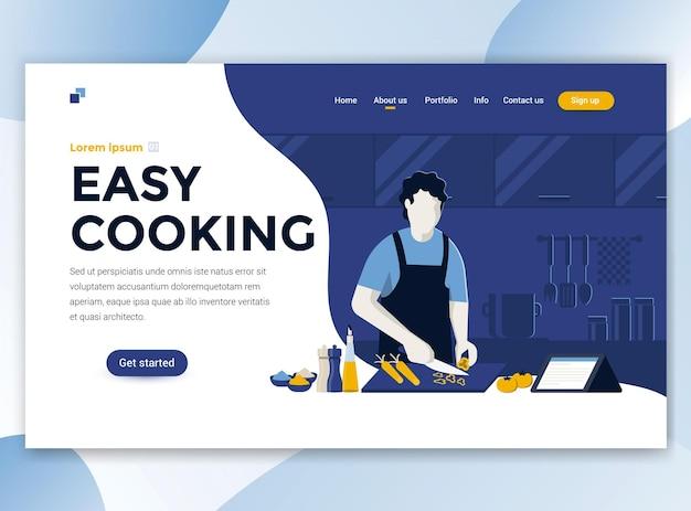 Modelo de página de destino do easy cooking