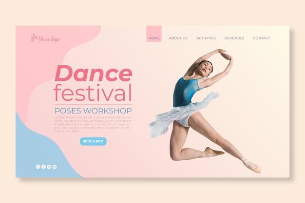 Modelo de página de destino do festival de dança