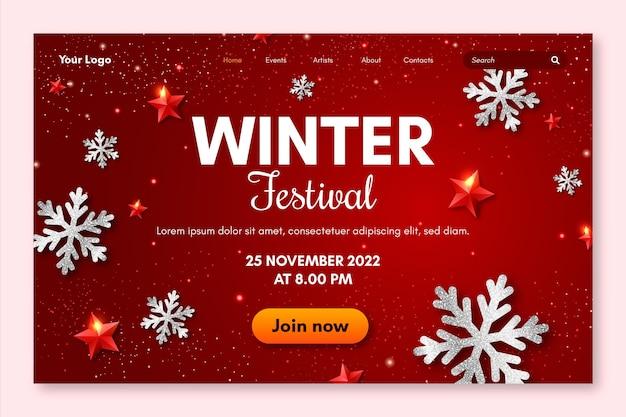 Modelo de página de destino do festival de inverno