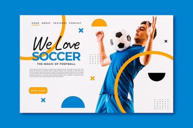 Modelo de página de destino do futebol sul-americano realista