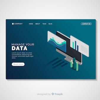 Modelo de página de destino do gerenciamento de dados
