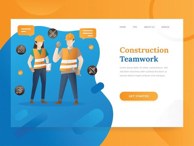 Modelo de página de destino do gerenciamento de projetos e construções