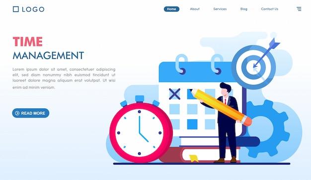Modelo de página de destino do gerenciamento de tempo