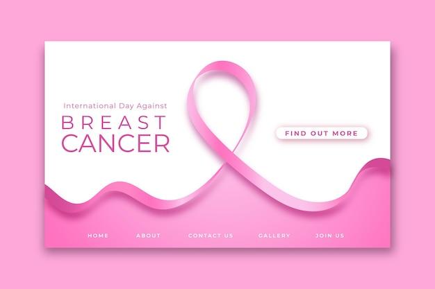 Modelo de página de destino do gradiente dia internacional contra o câncer de mama