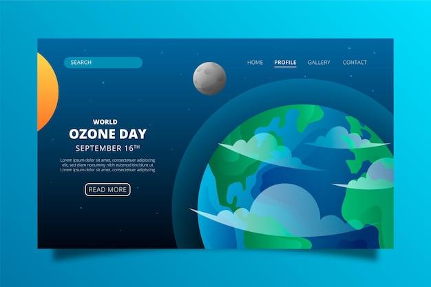 Modelo de página de destino do gradiente do dia mundial do ozônio