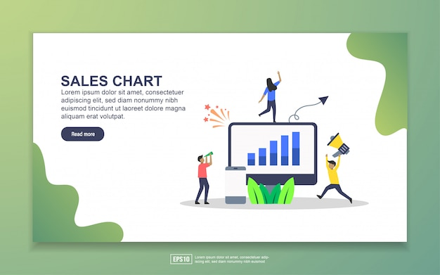 Modelo de página de destino do gráfico de vendas