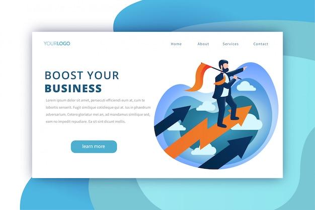 Modelo de página de destino do impulsionador de negócios