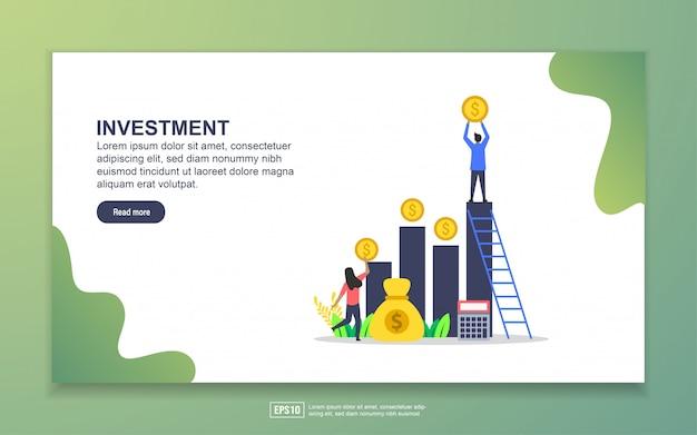 Modelo de página de destino do investimento