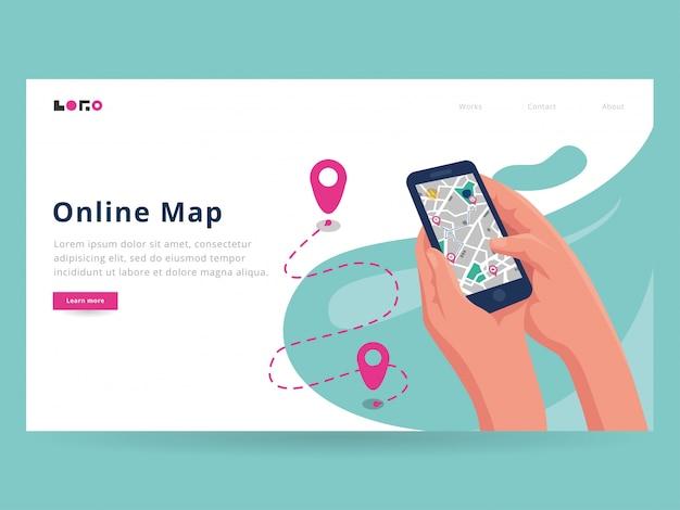 Modelo de página de destino do mapa online