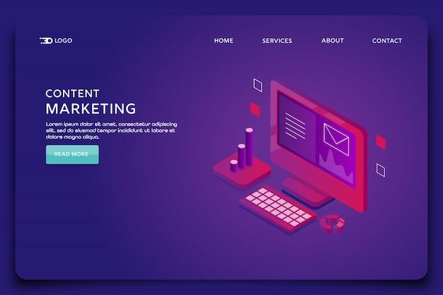 Modelo de página de destino do marketing de conteúdo