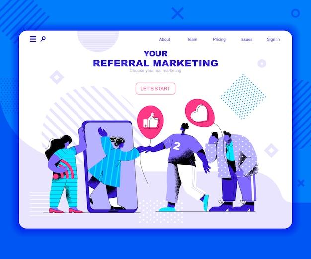 Modelo de página de destino do marketing de referência