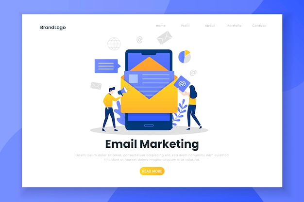 Modelo de página de destino do marketing por email