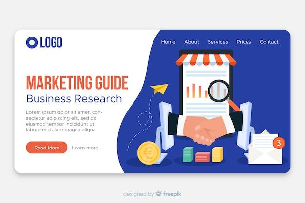 Modelo de página de destino do marketing