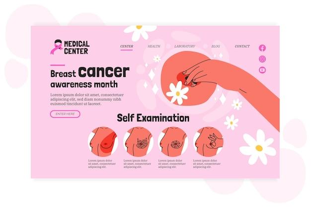 Modelo de página de destino do mês de conscientização do câncer de mama desenhado à mão