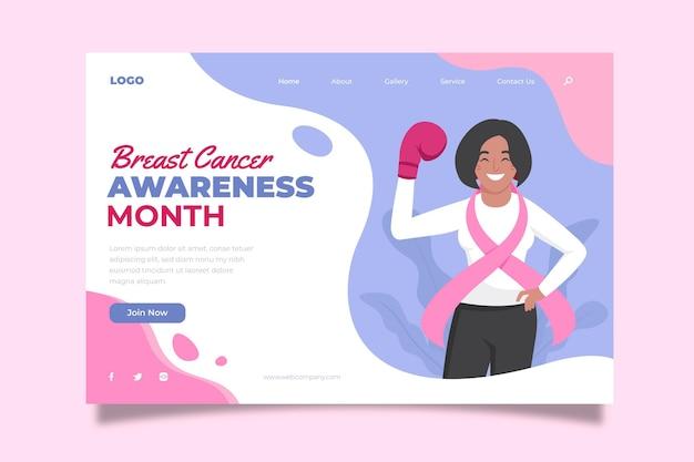 Modelo de página de destino do mês de conscientização sobre o câncer de mama desenhado à mão
