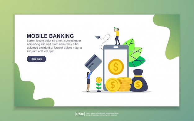 Modelo de página de destino do mobile banking