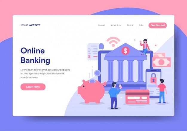 Modelo de página de destino do online banking