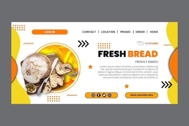 Modelo de página de destino do pão