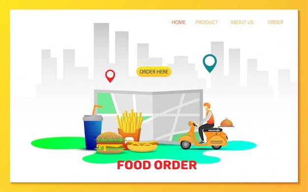 Modelo de página de destino do pedido de entrega de comida