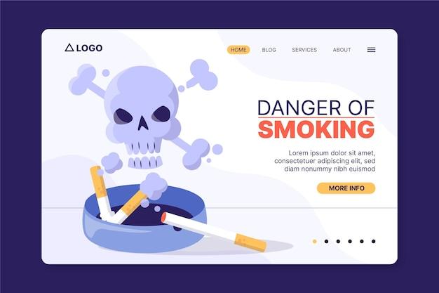 Modelo de página de destino do perigo de fumar